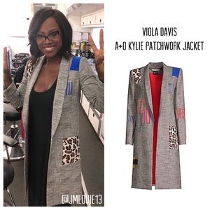 Alice + Olivia Kylie Gray Plaid Patchwork Jacket